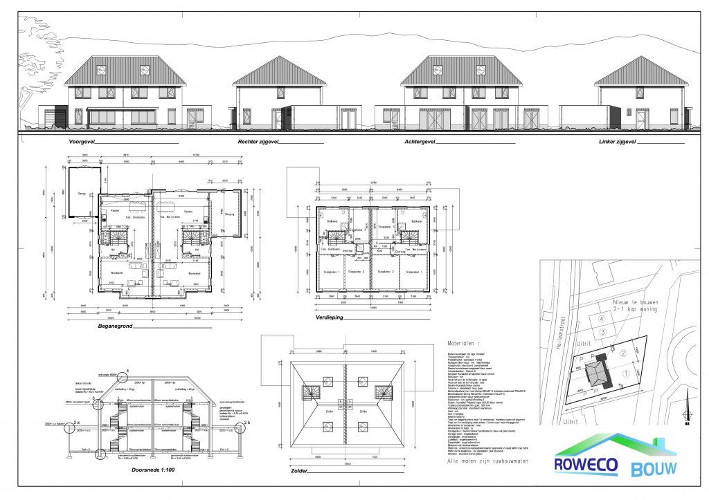plattegronden van woningen   uitgewerkt door roweco bouw