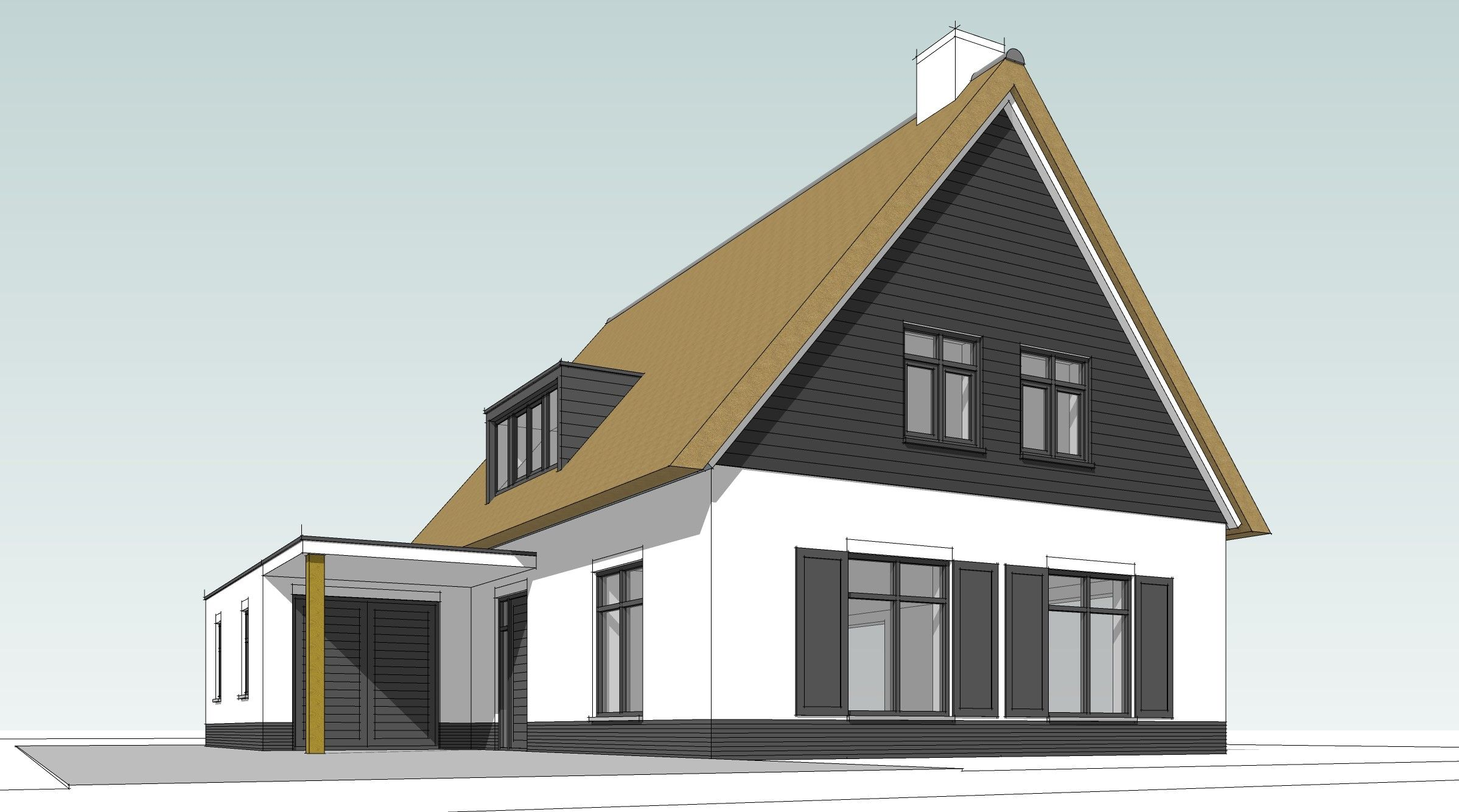 Landelijk_schetsen-3D landelijk met rieten dak_Roweco
